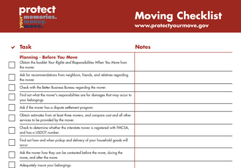 Moving Check List  Funxion Relocation  Logistics